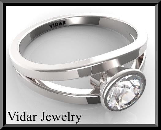 ON SALE Moissanite 14k White Gold Engagement Ring