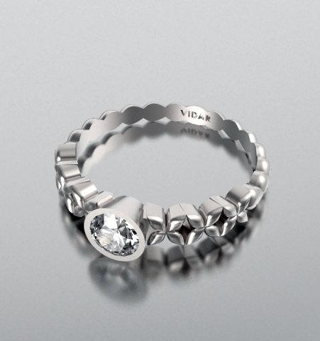 ON SALE Unique White Sapphire 14k Flower Engagement Ring