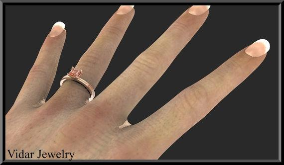 ON SALE Pink Morganite 14k Rose Gold Square Engagement Ring