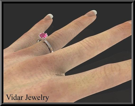 ON SALE Pink Sapphire 14k White Gold Flower Engagement Ring