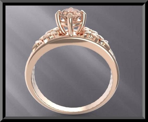 ON SALE Unique Pink Morganite 14k Rose Gold Flower Engagement Ring
