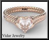 ON SALE 14k Rose Gold Heart Engagement Ring With Solitaire Moissanite