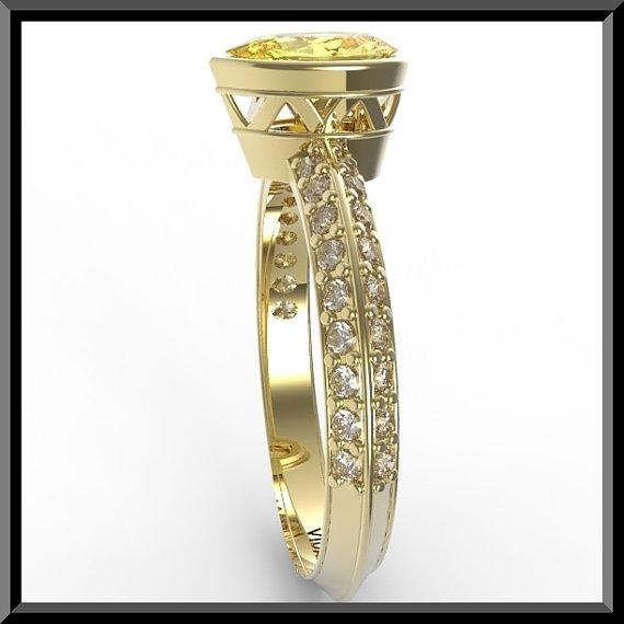 ON SALE Yellow Citrine And Diamonds 14k Yellow Gold Engagement Ring