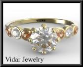 ON SALE White Moissanite And Orange Tourmaline 14k Yellow Gold Engagement Ring