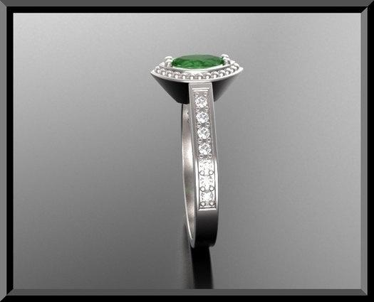 ON SALE Green Tourmaline And Diamonds 14k White Gold Engagement Ring