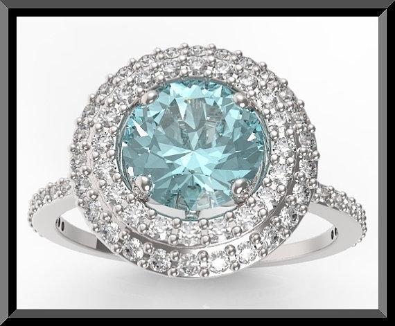 ON SALE Blue Aquamarine And Diamonds 14k White Gold Engagement Ring