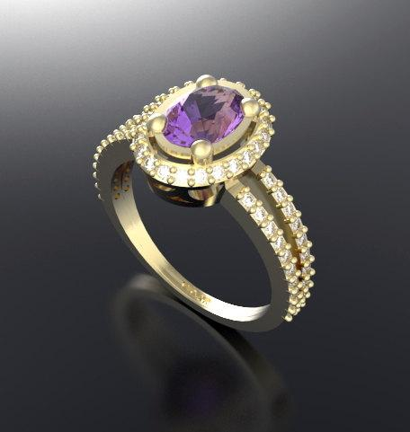 ON SALE Purple Amethyst And Diamond 14k Yellow Gold Engagement Ring