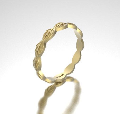 ON SALE 14k Yellow Gold Leaf Woman Wedding Ring