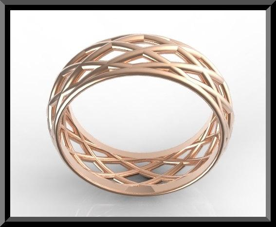ON SALE Unique 14k Rose Gold Woman Wedding Ring