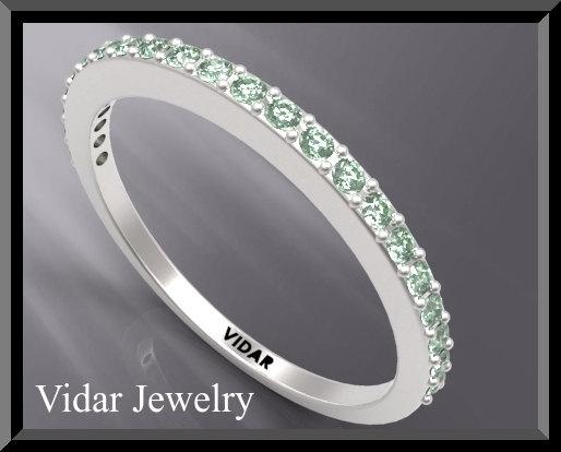 ON SALE Green Sapphire Half Eternity 14k White Gold Woman Wedding Ring