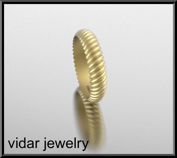 ON SALE 14k Yellow Gold Twisted Unisex Wedding Ring
