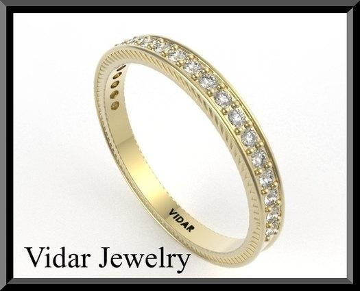 ON SALE Diamond Half Eternity 14k Yellow Gold Woman Wedding Ring