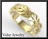 ON SALE Beautiful 14k Yellow Gold Leaf Woman Wedding Ring