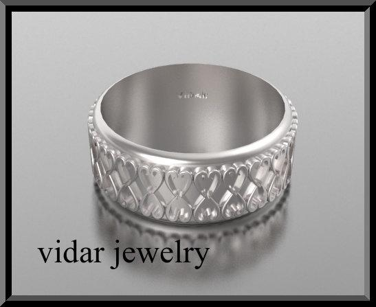 ON SALE 14kt White Gold Heart Unisex Wedding Ring
