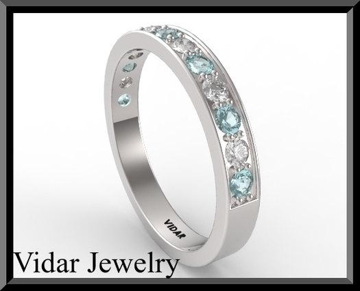 ON SALE Blue Aquamarine And Diamond Half Eternity 14kt White Gold Wedding Ring