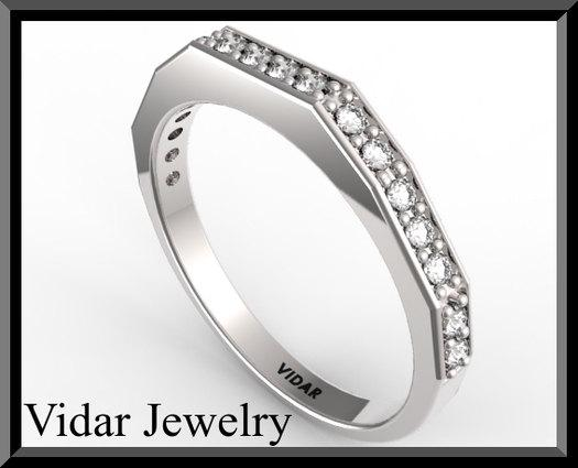 ON SALE Unique Diamond Half Eternity 14k White Gold Woman Wedding Ring