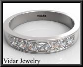 ON SALE Beautiful Diamond Half Eternity 14k White Gold Woman Wedding Ring
