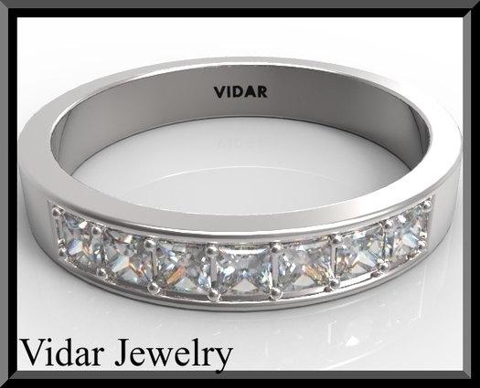 ON SALE Beautiful Diamond Half Eternity 14k White Gold Woman Wedding Ring