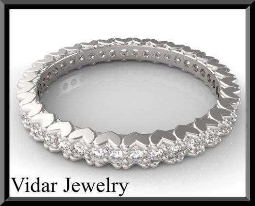 ON SALE 14kt White Gold And Diamond Heart Woman Wedding Ring
