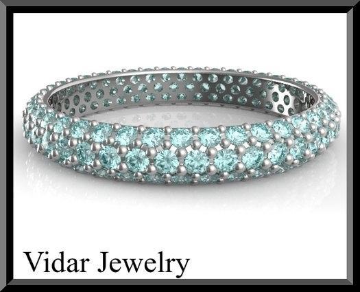 Blue Aquamarine 14k White Gold Woman Wedding Ring