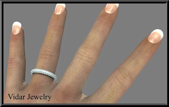 Blue Aquamarine 14k White Gold Woman Wedding Ring
