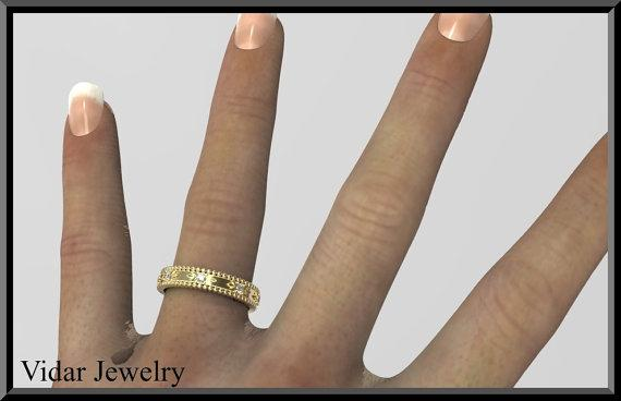 ON SALE Unique Floral 14kt Yellow Gold And Diamond Woman Wedding Ring