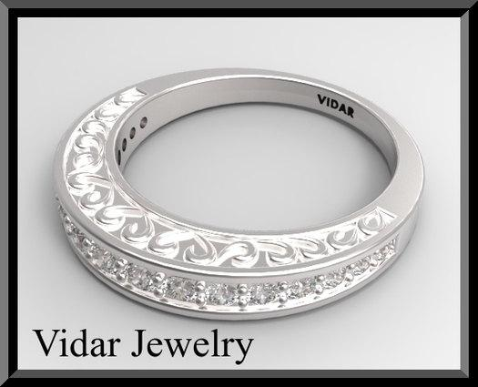 ON SALE Elegant And Classic 14K White Gold Diamond Woman Wedding Ring