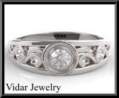 ON SALE Elegant 14K White Gold Diamond Woman Wedding Ring