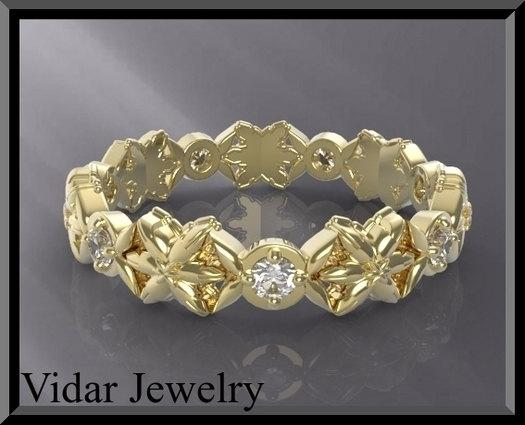 ON SALE Stunning Statement 14K Yellow Gold Diamond Woman Wedding Ring