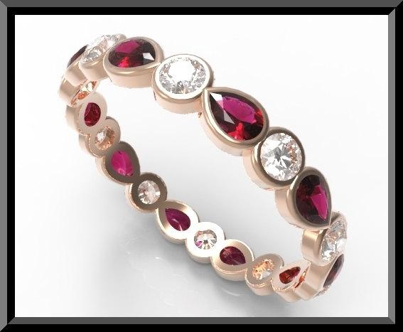 ON SALE Red Ruby And White Sapphire 14k Rose Gold Woman Wedding Ring