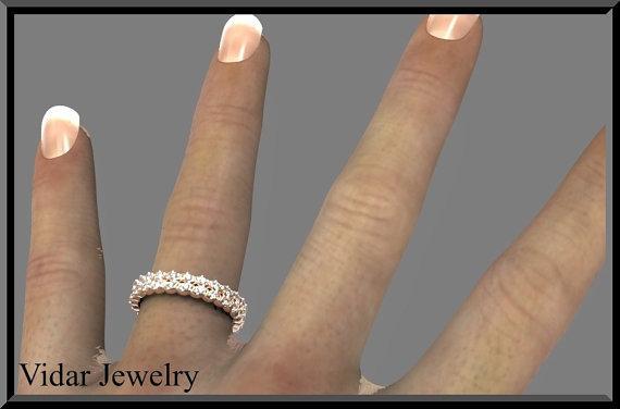 ON SALE Eternity Diamond 14k Rose Gold Woman Wedding Ring