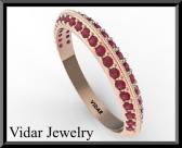 ON SALE Amazing Eternity Red Ruby 14k Rose Gold Woman Wedding Ring