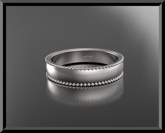 ON SALE Unique Design 14k Gold Man Wedding Band