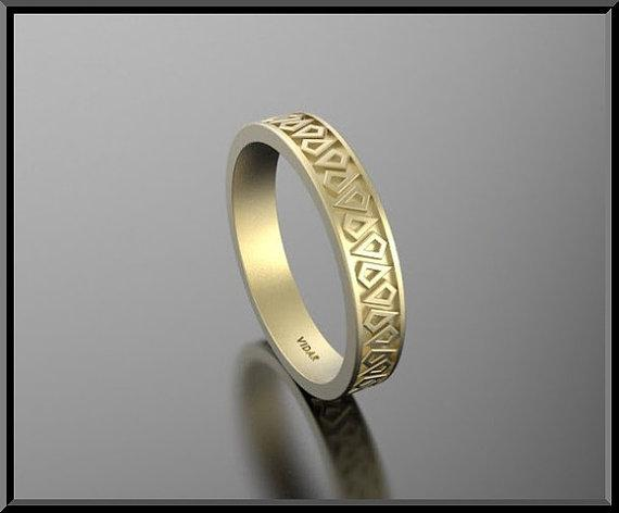 ON SALE Unique 14k Yellow Gold Man Wedding Ring