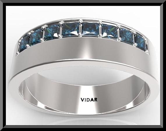 ON SALE Blue Sapphire 14k White Gold Man Wedding Ring