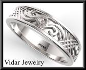 ON SALE Statement 14k White Gold Man Wedding Ring