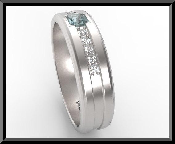 Blue Aquamarine And Diamond 14kt White Gold Man Wedding Ring