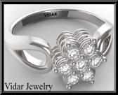 ON SALE Flower Diamond 14k White Gold Engagement Ring