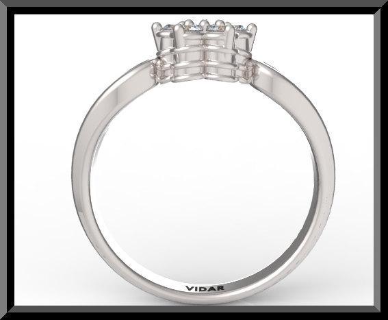 ON SALE Flower Diamond 14k White Gold Engagement Ring