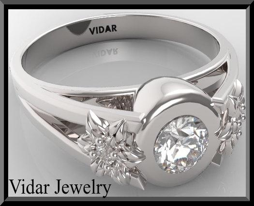 ON SALE Unique Flower Diamond 14k White Gold Engagement Ring