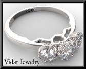 ON SALE 3 Stones 14k White Gold Diamond Engagement