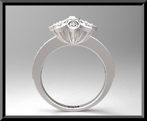 ON SALE Beautiful Flower Diamond 14k White Gold Engagement Ring