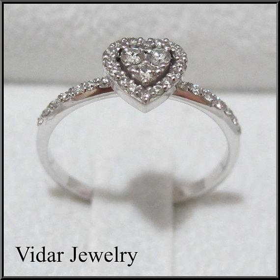 Diamond 14k White Gold Heart Engagement Ring