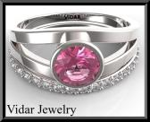 ON SALE Pink Sapphire And Diamonds 14k White Gold Wedding Ring Set