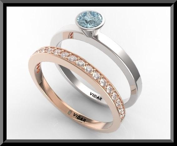 Blue Topaz And Diamonds 14k White And yellow Gold Wedding Ring Set