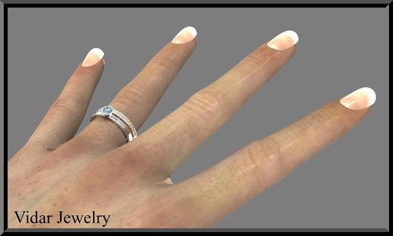 Blue Topaz And Diamonds 14k White And yellow Gold Wedding Ring Set