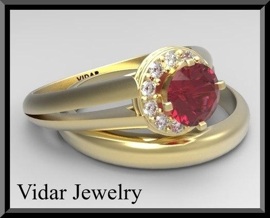 ON SALE Red Ruby And Diamonds 14k Yellow Gold Wedding And Engagement Ring Set