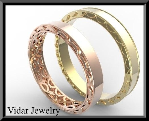 ON SALE His And Hers 14K Yellow And Rose Matching Wedding Bands Set
