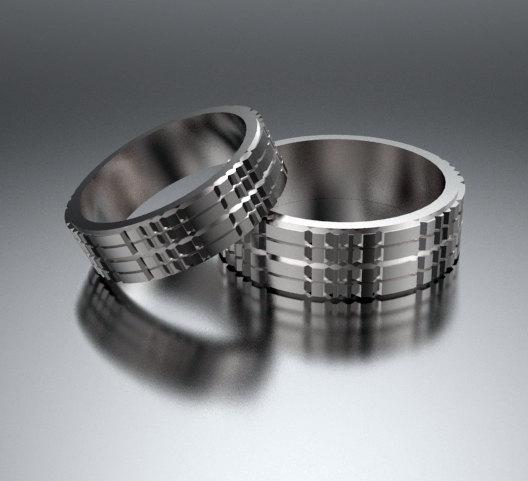 ON SALE His And Hers Simple 14K White Gold Matching Wedding Bands Set