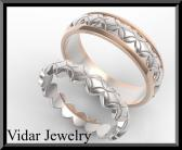 ON SALE His And Hers 14K Yellow And White Gold Matching Wedding Band Set
